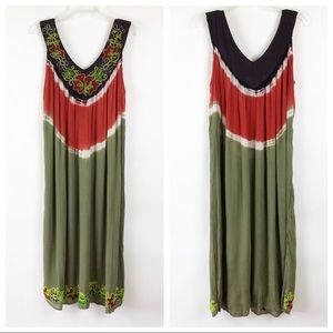 NF Tie Dye Boho Maxi Dress One Size Embroidered